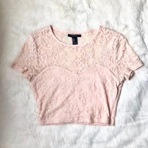 Forever 21 Pink Lace Sweetheart Crop Top